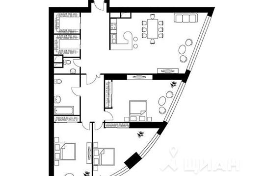 3-комнатная квартира, 165.6 м<sup>2</sup>, 36 этаж