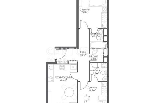 2-комнатная квартира, 65 м<sup>2</sup>, 4 этаж