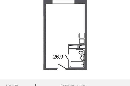 1-комнатная квартира, 30.8 м<sup>2</sup>, 9 этаж