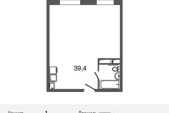 1-комнатная квартира, 43.3 м<sup>2</sup>, 16 этаж