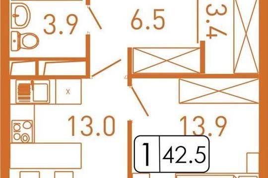 1-комнатная квартира, 44 м<sup>2</sup>, 3 этаж