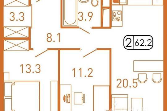 2-комнатная квартира, 62 м<sup>2</sup>, 5 этаж