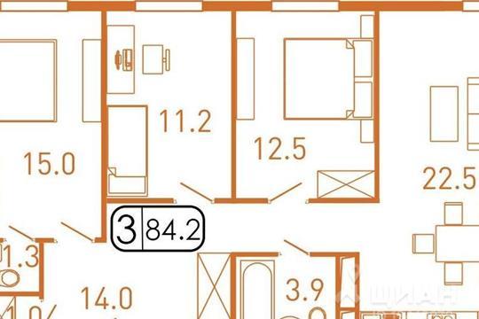 3-комнатная квартира, 85 м<sup>2</sup>, 10 этаж