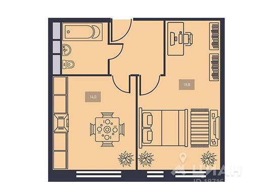 1-комнатная квартира, 41.5 м<sup>2</sup>, 15 этаж