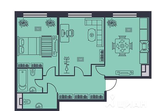 2-комнатная квартира, 61.7 м<sup>2</sup>, 9 этаж