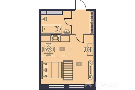 1-комнатная квартира, 29 м<sup>2</sup>, 4 этаж
