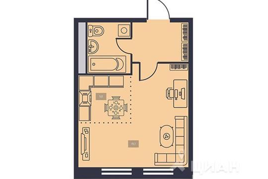 1-комнатная квартира, 27.7 м<sup>2</sup>, 15 этаж