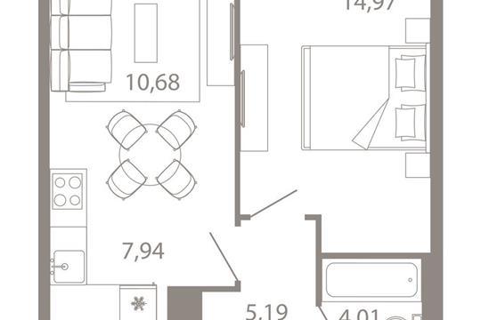 2-комнатная квартира, 42.79 м<sup>2</sup>, 6 этаж