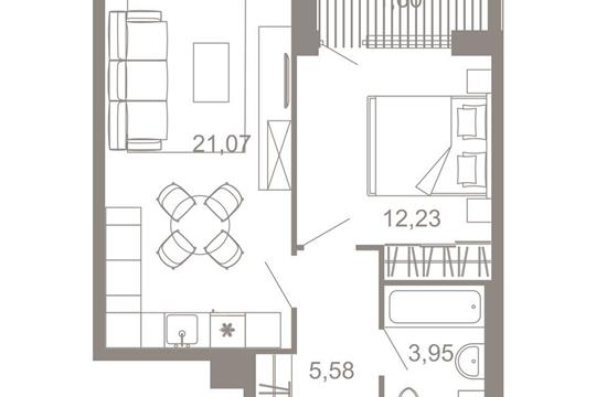 2-комнатная квартира, 44.43 м<sup>2</sup>, 3 этаж