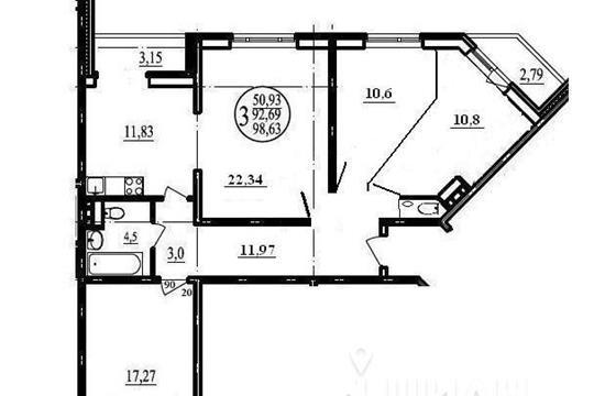 4-комнатная квартира, 98.63 м<sup>2</sup>, 15 этаж