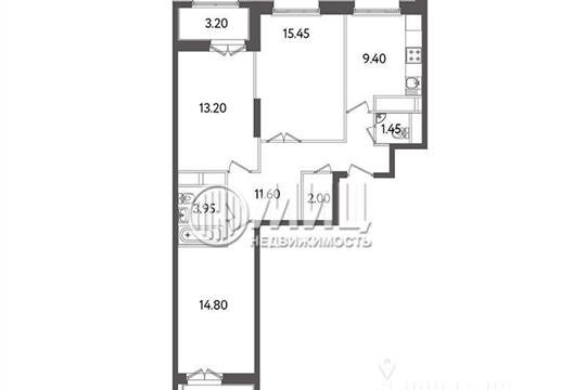 3-комнатная квартира, 75 м2, 18 этаж