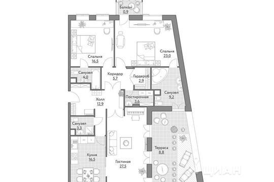 3-комнатная квартира, 131 м<sup>2</sup>, 2 этаж