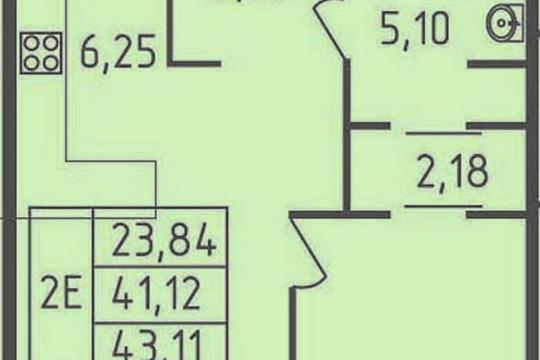 1-комнатная квартира, 43.11 м<sup>2</sup>, 14 этаж