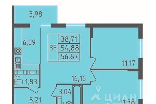 2-комнатная квартира, 56.87 м<sup>2</sup>, 12 этаж