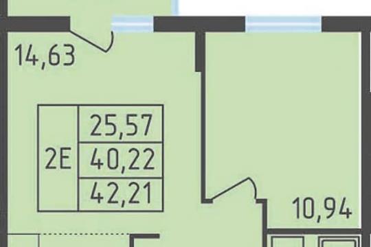1-комнатная квартира, 42.21 м<sup>2</sup>, 8 этаж