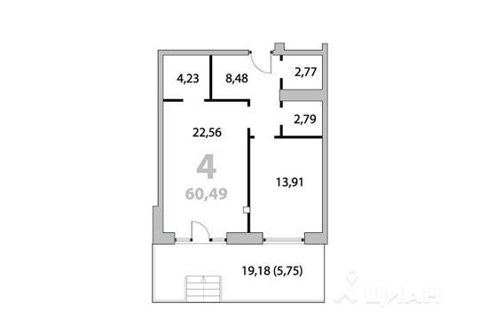 Квартира свободной планировки, 62.85 м<sup>2</sup>, 1 этаж