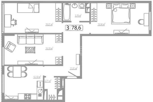 3-комнатная квартира, 78.6 м2, 18 этаж