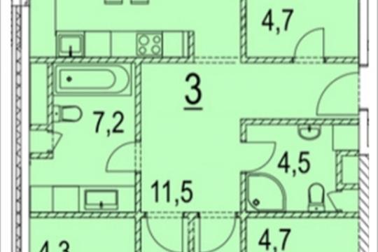 3-комнатная квартира, 119.5 м<sup>2</sup>, 2 этаж