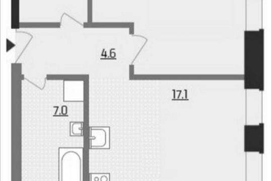 1-комнатная квартира, 47.4 м<sup>2</sup>, 19 этаж