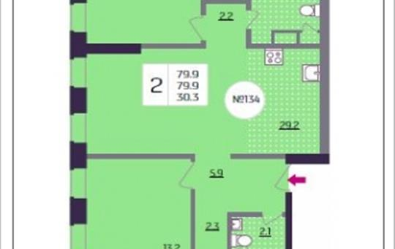 2-комнатная квартира, 79.9 м<sup>2</sup>, 21 этаж