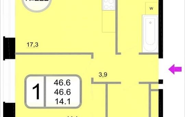 1-комнатная квартира, 46.6 м<sup>2</sup>, 14 этаж