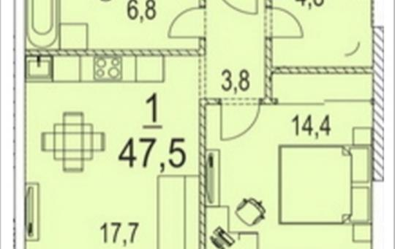1-комнатная квартира, 47.5 м<sup>2</sup>, 16 этаж