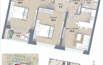 2-комнатная квартира, 92.5 м<sup>2</sup>, 16 этаж