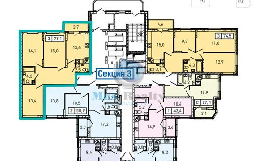 3-комнатная квартира, 79.1 м<sup>2</sup>, 19 этаж