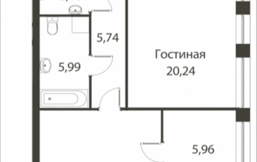 2-комнатная квартира, 87.87 м<sup>2</sup>, 14 этаж