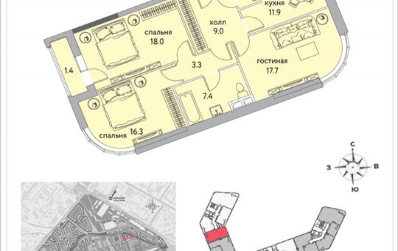 3-комнатная квартира, 88.2 м<sup>2</sup>, 13 этаж