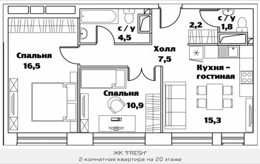 2-комнатная квартира, 59.1 м<sup>2</sup>, 20 этаж