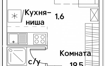 1-комнатная квартира, 24.2 м<sup>2</sup>, 16 этаж