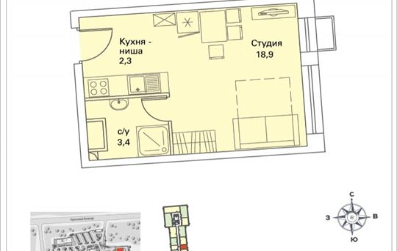 1-комнатная квартира, 24.6 м<sup>2</sup>, 11 этаж