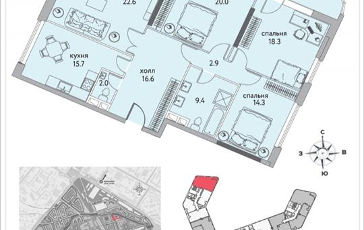 4-комнатная квартира, 126.5 м<sup>2</sup>, 13 этаж