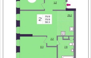 2-комнатная квартира, 79.9 м<sup>2</sup>, 3 этаж