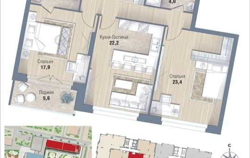 2-комнатная квартира, 87.1 м<sup>2</sup>, 13 этаж
