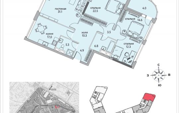 4-комнатная квартира, 134.5 м<sup>2</sup>, 14 этаж