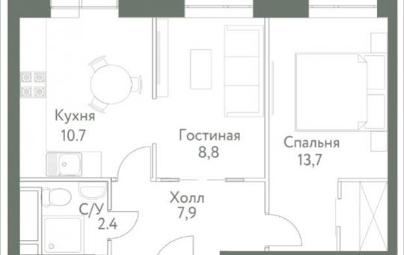 1-комнатная квартира, 44.4 м<sup>2</sup>, 14 этаж