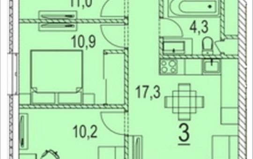 3-комнатная квартира, 64.5 м<sup>2</sup>, 17 этаж