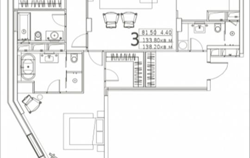 3-комнатная квартира, 138.2 м2, 12 этаж