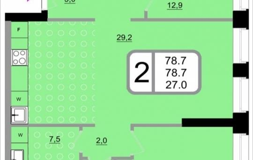2-комнатная квартира, 78.7 м<sup>2</sup>, 22 этаж