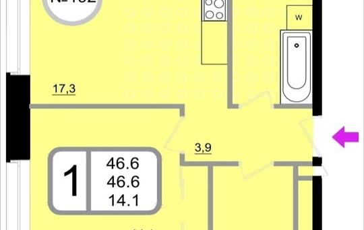 1-комнатная квартира, 46.6 м<sup>2</sup>, 9 этаж