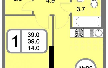 1-комнатная квартира, 39 м<sup>2</sup>, 20 этаж