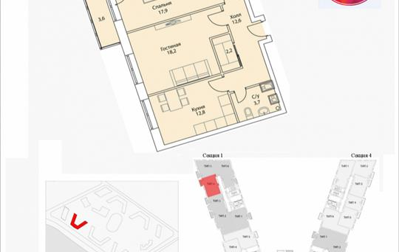 2-комнатная квартира, 72 м2, 12 этаж