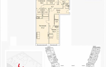 4-комнатная квартира, 140.1 м2, 13 этаж