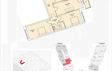 3-комнатная квартира, 99.1 м2, 17 этаж