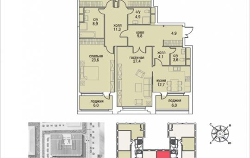 4-комнатная квартира, 153.3 м2, 2 этаж