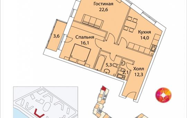 2-комнатная квартира, 73.7 м2, 2 этаж