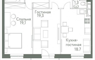 2-комнатная квартира, 75.4 м2, 6 этаж