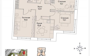 3-комнатная квартира, 71.4 м2, 32 этаж